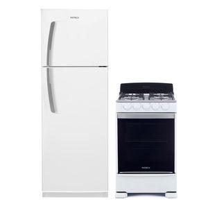 Combo Heladera con freezer No frost 285 Lts Blanca Patrick HPK350M00B + Cocina a gas 55 cm Blanca Patrick CP6855AB