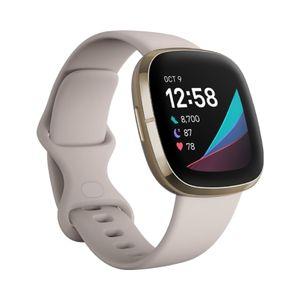 Smartwatch Fitbit Sense - Lunar WhiteSoft Gold Stainless Steel