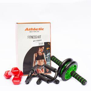 Kit Fitness Athletic Rueda Abdominal + Mancuernas + Push Up
