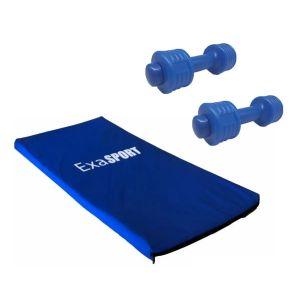 Colchoneta Gimnasia Exahome Fitness + 2 Mancuernas 1kg Azul