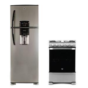 Combo Heladera Bioinverter con freezer No frost 424 Lts Inox. HGE455M12L + Cocina a gas 60 cm Inox. con Grill CG760I GE Appliances