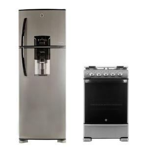 Combo Heladera Bioinverter con freezer No frost 424 Lts Inox. HGE455M12L + Cocina a gas 55 cm Inoxidable CG756I GE Appliances