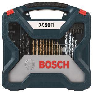 Set Kit De 50 Piezas Bosch X-line Mechas Y Puntas De Titanio