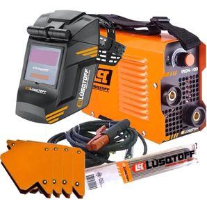 Soldadora Inverter Lusqtoff Iron 100 + Mascara + Electrodos + 4 Escuadras Magnetica Maquina Soldar Fotosensible Careta