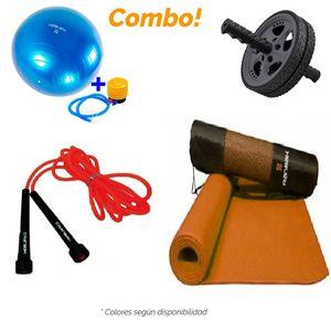 Kit9 Mat + Soga Saltar + Rueda Abdominal + Pelota Esferodinamica