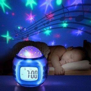 Lampara Velador Reloj Proyeccion Estrellas Proyector Luces Led