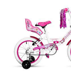 Bicicleta Niña TopMega Princess Rodado 16 color Rosa y Blanco