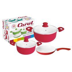 Bateria de cocina cerámica 5 piezas Rojo Carol