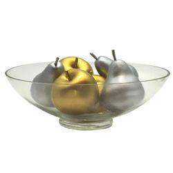 Combo Centro de Mesa Ovni de Cristal + Mix de 6 Frutas Doradas y Plateadas