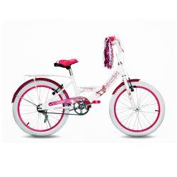 Bicicleta TopMega Niña Rodado 20 Bmx Color Blanco y Rosa