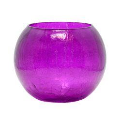 Florero Fanal Centro De Mesa Esfera Purpura De Cristal 20 Cm