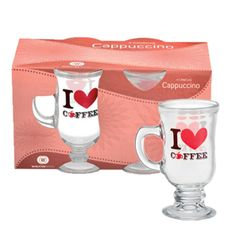 Set de 4 Jarros de Cafe 115 cc Wheaton Brasil Vidrio I LOVE COFFEE 1001188