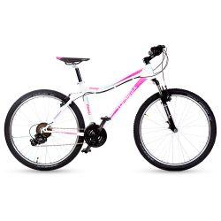 Bicicleta Mountain Bike TopMega Mujer Flamingo Rodado 26 21 Cambios Color Blanca