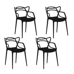 Set 4 Sillas de Diseño Allegra Negras