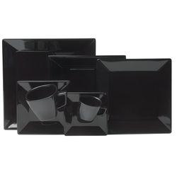 Juego de Vajilla 42 Piezas Cuadrado Oxford Porcelana Negro 1124590