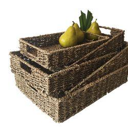 Cesta Canasto Organizador Bajo De Seagrass Con Asas Set X 5