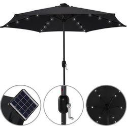 Sombrilla con luz led y pantalla solar LQ50-03NLC Lusqtoff negra
