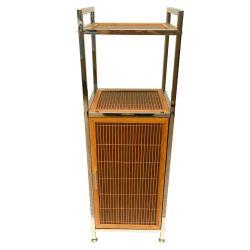 Mueble Organizador De Baño De Metal Y Bambu Con Repisa Puerta Y Estante