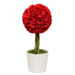 Planta Decorativa Topiario Esfera Rosas Rojas Artificial 48 cm