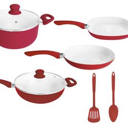 Bateria de cocina cerámica 8 piezas Rojo Carol