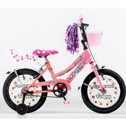 Bicicleta Futura Twiggy Infantil Rodado 16 Color Rosa y Blanco con Rueditas