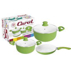 Bateria de cocina cerámica 5 piezas verde Carol