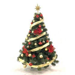 Árbol de Navidad Premium 1.30 Mts con Kit Rojo y Oro 36 Piezas