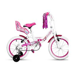 Bicicleta Niña Rodado 16 Top Mega Princess Rosa y Blanco