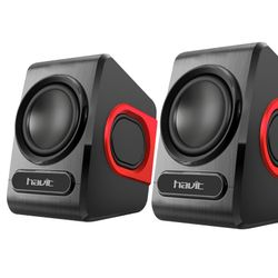 Parlante Para PC Havit SK 503 USB SPEAKER Negro y Rojo