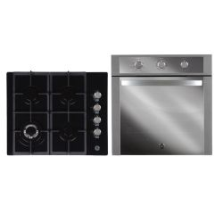 Combo Horno a Gas 60 cm Inoxidable GE Appliances - HGGE6053I + Anafe a gas 60 cm Vidrio Negro GE Appliances - AGGE60GOG