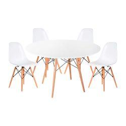 Combo Mesa Eames Redonda 120 x 74 cm con 4 Sillas Color Blanco