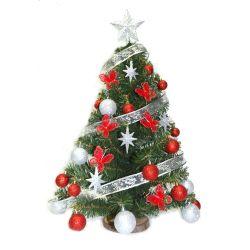 Arbol de Navidad 0 80 Mts con Adornos Rojo Plata Pie Tronco