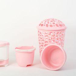 Set Cesto + Palangana + Balde + Cesto Pedal rosa