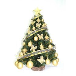 Árbol de Navidad 0.80 M con Adornos Oro Pie Tronco Natural