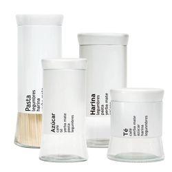 Set de 4 Frascos Diferentes tamaños Nouvelle Cuisine Vidrio Blanco NOVO 1990410