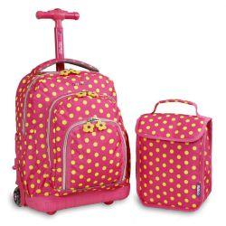 "Mochila Escolar 16"" con Lunchera J-World NY Lollipop Pink Buttom"