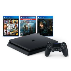 Consola PS4 1TB + GTA V + God of War + Death Stranding