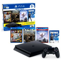 Consola PS4 1TB + Days Gone + Horizon Zero Dawn + GTA V + Neo Versa de Fortnite