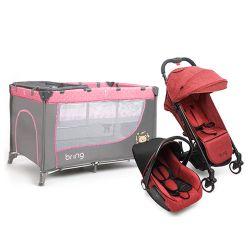 Combo Practicuna Bring 6101 Rosa + Travel System Bring 5205 Rojo