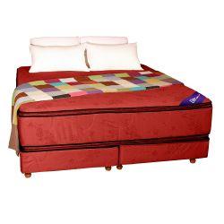 Conjunto RESORTES - Pillow top Suavidad 200 X 200 bordo