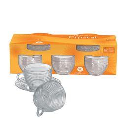 Set de 6 Piezas Tazas de Te con Plato Wheaton Brasil Vidrio CRYSTAL 1001167