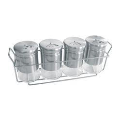 Especieros con 4 Frascos y Soporte Nouvelle Cuisine Vidrio y Cromado 1114047