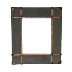 Espejo de Madera Revestido con Tela Gris 84 cm x 95 cm