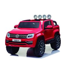 Auto a Bateria Camioneta Volskwagen Amarok 12V Doble Asiento de Cuero Rojo