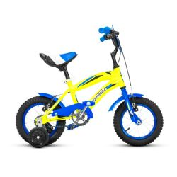 Bicicleta Rodado 12 Top Mega Crossboy con Rueditas Azul y Amarillo