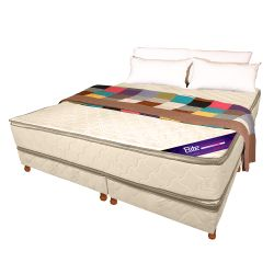 Conjunto ESPUMA ALTA DENS -30 KG- Pillow top 190 X 160 blanco