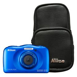 Camara Nikon W100 13.2 MP 3x Zoom Video Full HD a prueba de Agua Kit Azul