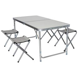 Mesa Plegable de Aluminio + 4 Banquetas