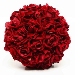 Planta Decorativa Esfera Rosas Bordo Velvet Burgundy Artificial 25 cm