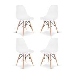 Set de 4 Sillas de Plástico y Madera Blanco Eames